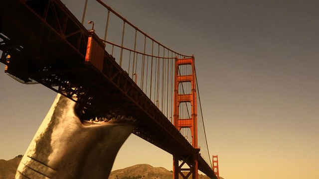 Mega Shark Versus Giant Octopus Noms On San Francisco