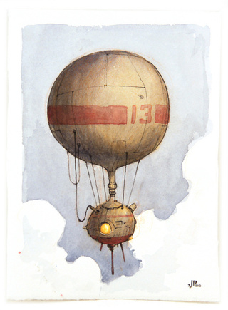 The airship emerged from jagged peaks, its body swollen with gas
