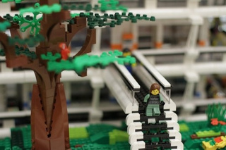 A surprisingly realistic depiction of a space habitat, entirely in lego