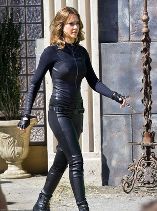 Jessica Alba's leather catsuit