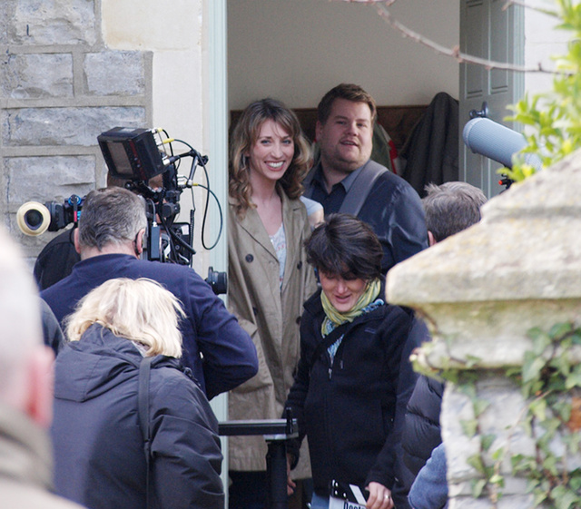 James Corden and Daisy Haggard filming Doctor Who (with Matt Smith on set but apparently not in the scene)