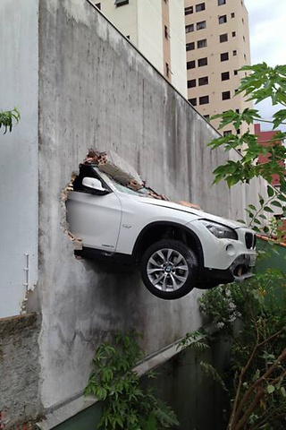 This BMW X1 Crashed Through A Parking Garage Wall In Brazil
