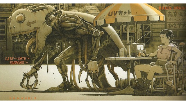 Concept Art Writing Prompt: A mechanical monster passes an outdoor cafe