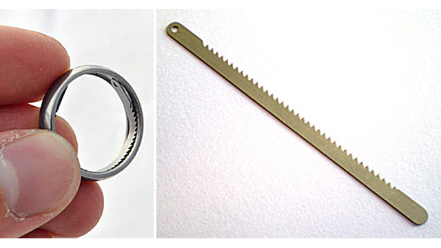 Miniature saw blade in a ring, handcuff shim, handyman ring, undercover tools, secret handyman tools