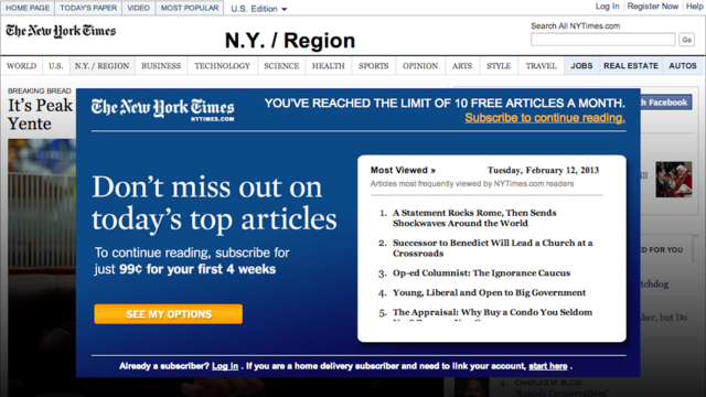 Click here to read Two Years Later, The New York Times Closes Its Paywall's Most Gaping Hole