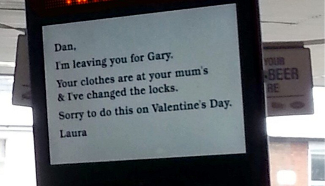 Woman Buys Ad Space at Boyfriend's Regular Lunch Place to Let Him Know He's Being Dumped on Valentine's Day