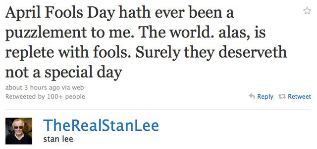 It's April Fool's Day For Celebs On Twitter