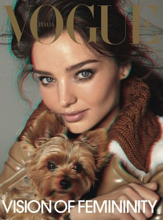 Italian Vogue 3D Cover Stars Miranda Kerr And A Puppy