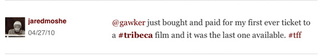 Best Tweets from our Tribeca Film Festival Twitter Room Gallery
