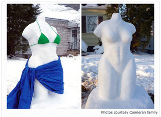 Family Asked To Cover Up Nude Snow Woman