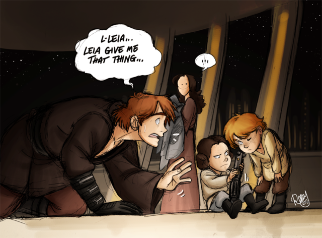 Scenes of Skywalker family life, if Anakin hadn't gone over to the Dark Side