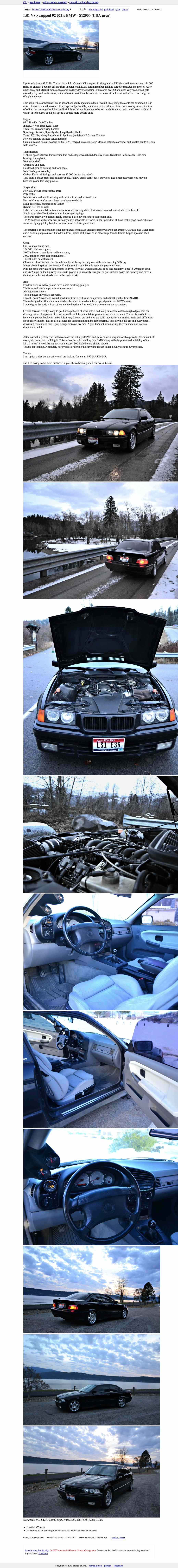 For 12900 Could This E36 Be The Ls1 You Scama Engine Wiring Harness Spokane Craigslist Or Go Here If