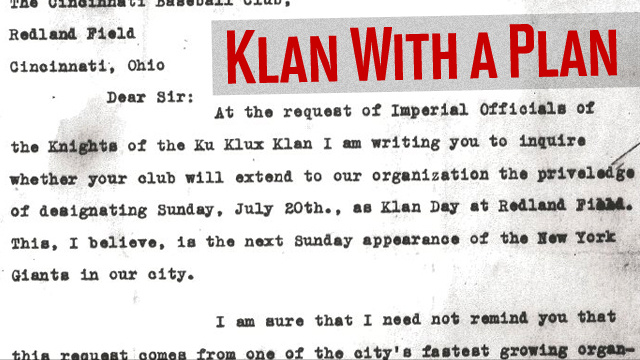 "The Time The KKK Politely Asked For A ""Klan Day"" At The Reds' Ballpark"