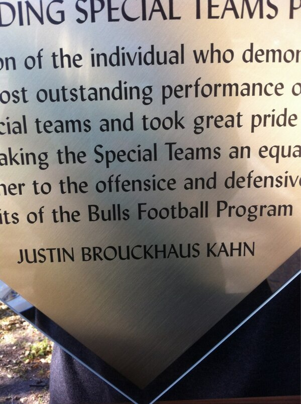 South Florida Gives Punter Special Teams Award Riddled With Spelling Errors, Including Punter's Last Name