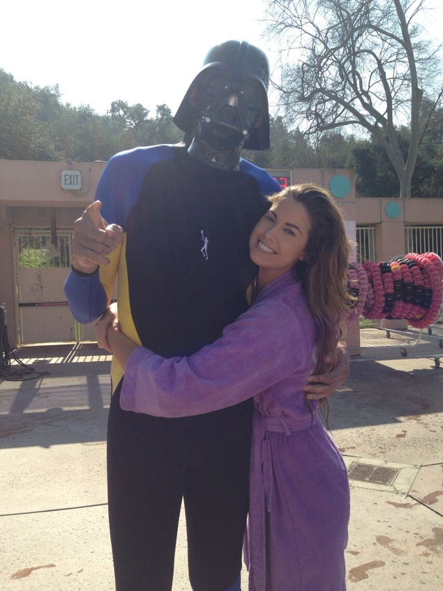 Here's Kareem Abdul-Jabbar Wearing A Darth Vader Mask And Posing With Katherine Webb