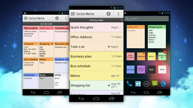 Colornote Notepad Takes and Saves Notes, Puts them on Your Home Screen for Easy Access
