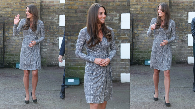 Kate Middleton Makes First Official Public Pregnant Appearance (in a MaxMara Dress)