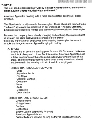American Apparel: Internal Documents Reveal Uglies Not Welcome