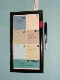 Turn Paint Chips into a Dry Erase Calendar