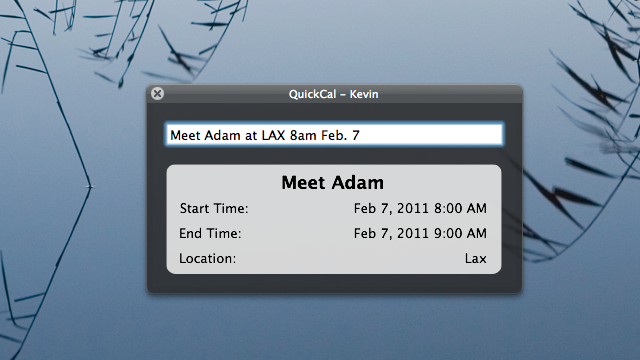 QuickCal Desktop Quickly Creates Events from Plain English