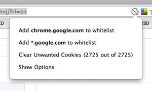 Vanilla Whitelists Your Cookies in Google Chrome