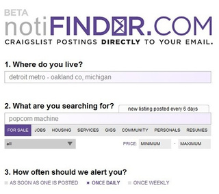 Notifinder Sends Email Alerts for Saved Craigslist Searches