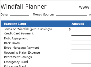 Windfall Planner Worksheet Stops You from Wasting Unexpected Income