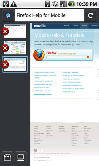 First Look at Fennec, or Firefox Mobile on Android - Gallery