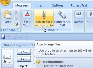 Drop.io Outlook Plug-In Sends 100MB Attachments