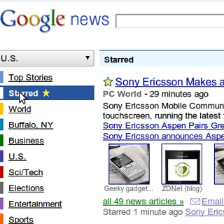 Google News Adds Stars for Topic Tracking