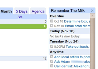 Remember the Milk Gadget Puts To-Dos in Google Calendar