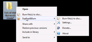 Explore&Burn Quickly Burns Files and Folders to Disc via Right-Click