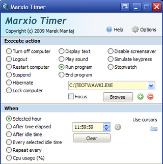 Marxio Timer Triggers Computer Events and Countdowns