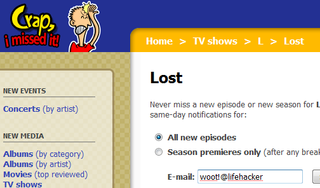 Crap, I Missed It! Notifies You of Upcoming Movies, Music, and TV Episodes