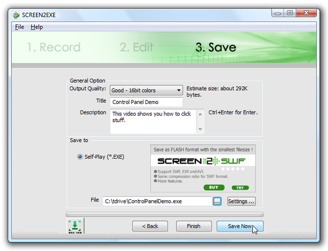 Screen2Exe Saves Screencasts to Executable Files