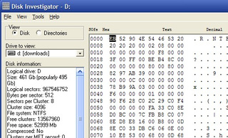 Disk Investigator Examines Raw Hard Drive Data