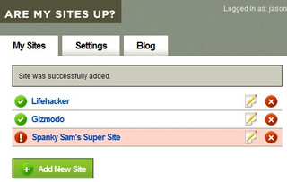 Are My Sites Up? Tracks Multiple Web Sites' Availability