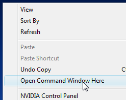 Open a Command Prompt Anywhere with Vista