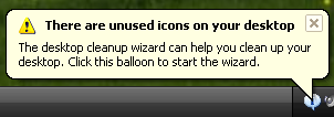 "Disable Windows ""Unused Icons"" Balloon"