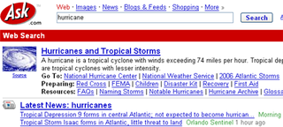 Get a hurricane advisory via Ask.com