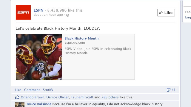 ESPN Urges Facebook Users To Celebrate Black History Month, With Predictable Results