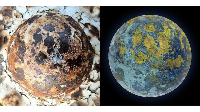 Artist transforms photos of rusty fire hydrants into pictures of alien planets