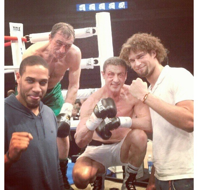 Here's A Picture Of Sylvester Stallone And Robert De Niro, In Full Makeup For A Boxing Movie, Hanging Out With Robin Lopez
