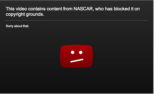 YouTube Determines That NASCAR Does Not Have A Copyright On Everything It Claims To Have Copyrighted