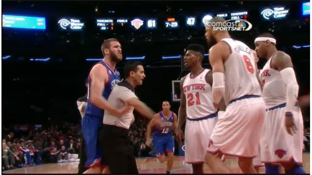 Carmelo Anthony Slaps 76ers' Spencer Hawes, Is Still A Bitch