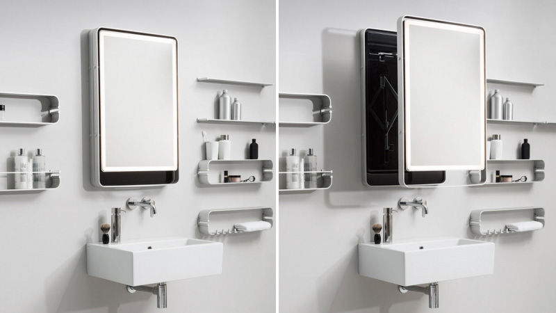 Bathroom Mirrors With Lights Built In pull this mirror out of the wall instead of leaning forward