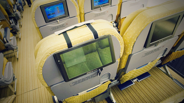 Mount Your Tablet to the Back of an Airplane Seat with Velcro