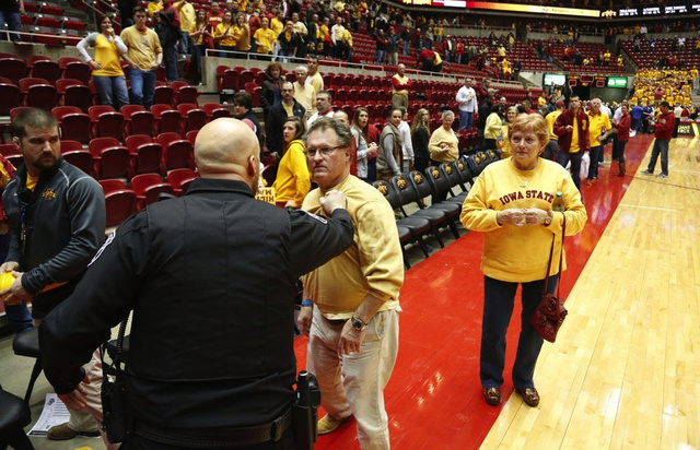 After Loss To Kansas, Angry Iowa State Fan Rushes Court, Tries To Confront Bill Self