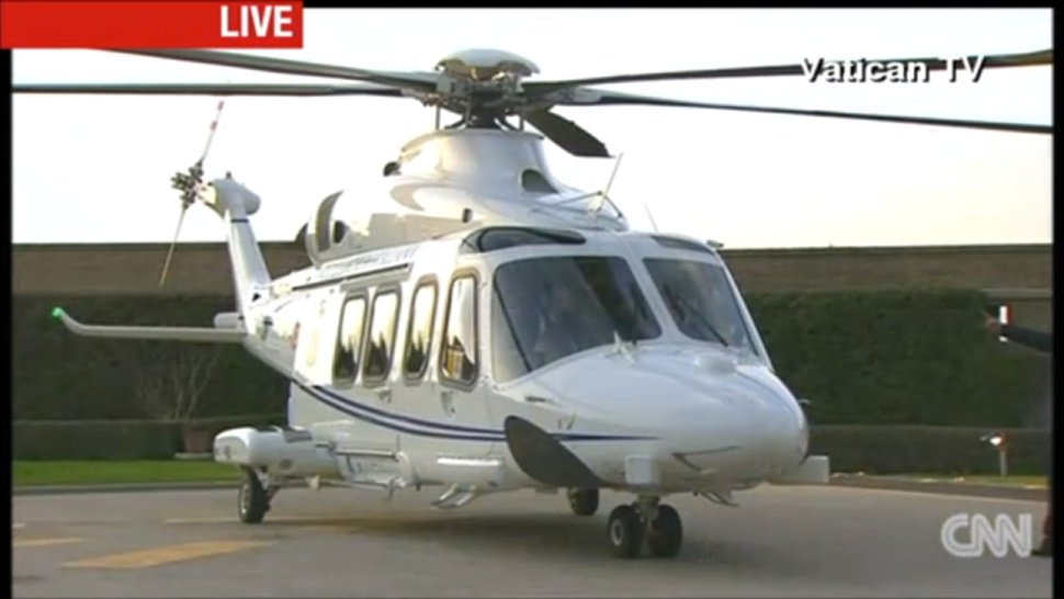 the pope just peaced out of the vatican in this awesome helicopter. Black Bedroom Furniture Sets. Home Design Ideas