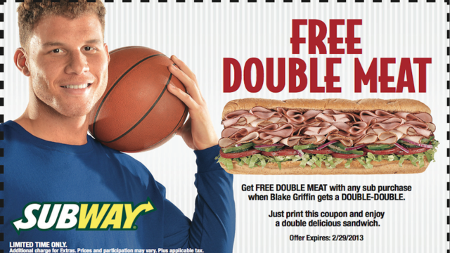 Here, Have This Blake Griffin Subway Coupon That Expires Feb. 2…